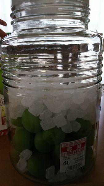 梅ジュース・氷砂糖で漬けます